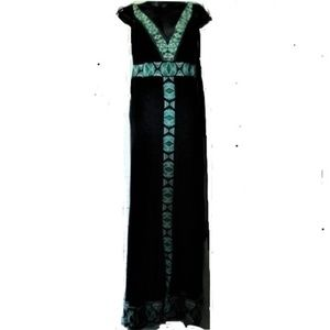 INC black rayon green trimming maxi dress M